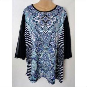 CJ Banks Plus Shirt Top Tunic 3/4 Sleeve Rhineston